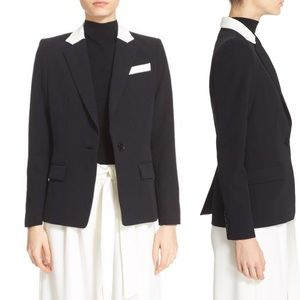 Milly Cady Contrast Blazer in Black & Neon Yellow